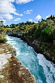 Narrow chasm leading in the Huka falls on the Waikato River, Taupo, North Island, New Zealand, Pacific