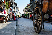Close up of a horse cart riding through the Spanish colonial architecture, Vigan, UNESCO World Heritage Site, Northern Luzon, Philippines, Southeast Asia, Asia