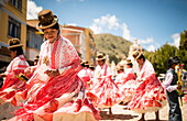 Dancers in traditional dress, Fiesta de la Virgen de la Candelaria, Copacabana, Lake Titicaca, Bolivia, South America