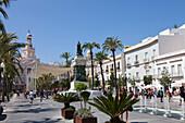 La Plaza de San Juan de Dios, Platz in der Altstadt von Cádiz, Costa de la Luz, Provinz Cádiz, Andalusien, Spanien, Europa