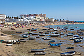 La Caleta Beach in the historical town of Cadiz, Cadiz Province, Costa de la Luz, Andalusia, Spain, Europe