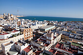 View over the historical town of Cadiz with the Cathedral, Cadiz Province, Andalusia, Spain, Europe
