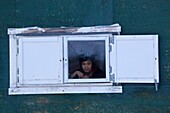 young inut boy looking out of a window in Qaanaaq, Northwest Greenland, Greenland