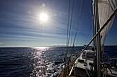 Sailing yacht near Antigua and Barbuda, Leeward Antilles, Lesser Antilles, Caribbean Sea