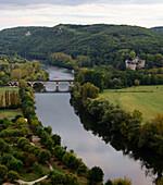 View from Beynac castle, Beynac-et-Cazenac in the Dordogne valley, Perigord, Dordogne, Aquitaine, West-France, France