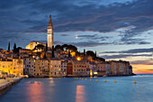 Church tower and the old town of Rovinj in the evening, Istria, Croatia