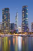 Skyscrapers in the harbour at Dubai Marina, Dubai, Unites Arab Emirates, UAE