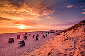 Sunset over the sea, Westerland, Sylt Island, North Frisian Islands, Schleswig-Holstein, Germany