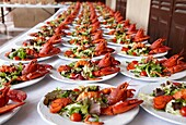 Food preparation, lobster salad, Palacio de Miramar, San Sebastian, Gipuzkoa, Euskadi, Spain