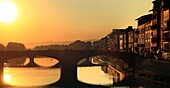Italy, Tuscany, Florence, Arno river and Ponte alla Carraia.
