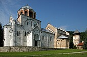 Serbia,Studenica Monastery,founded by Grand Prince Stefan Nemanja,late 12th century,Church of the Virgin,Orthodox,christian,religious,exterior,outside,facade,colour,cupolas