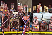 Dominican Republic, Samana Peninsula, Samana, decorative bottles