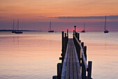 Aeroskobing, Denmark, island, isle, Aero, beach, seashore, sea, footbridge, boats, sailing ships, sundown, evening mood