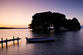 Role, Roll, Switzerland, canton Vaud, lake of Geneva, island, isle, daybreak, boats, trees, landing stage