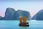 Vietnam, Asia, Far East, Halong bay, cliff formation, rock, cliff, coast, boat, ship, world cultural heritage, Unesco, junk, sail boat, traveling, place of interest, landmark