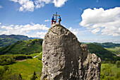 Man, men, riding a bike, bicycle, bicycle, bike, biking, rope, protect, summit, peak, climbing, scenery, Ennstal, loose stone, Laussa, Upper Austria, Austria, summit cross, sport, mountaineering