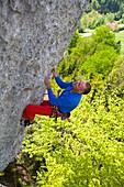 Man, rope, protect, climbing, Austria, Sauzahn, overhanging, sport, mountaineering
