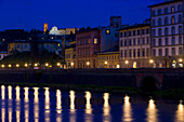 Florence, Italy, Europe, Tuscany, town, city, houses, homes, river, flow, Arno, dusk, twilight, lighting, lights, reflection, church