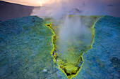 Vulcano, Italy, Europe, Lipari Islands, island, isle, volcano, crater, fumarole, sulphur, sulfur, deposition, steam, vapor, evening mood