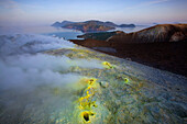 Vulcano, Italy, Europe, Lipari Islands, island, isle, volcano, crater, fumarole, sulphur, sulfur, deposition, steam, vapor, morning light, sea, Mediterranean Sea
