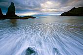 Playa de la Caleta, Spain, Europe, Canary islands, isles, La Gomera, island, isle, beach, seashore, daybreak, rock, cliff, waves, movement, sea, Atlantic