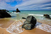 Sango Bay, Great Britain, Scotland, Europe, sea, coast, beach, seashore, rock, cliff, surf, waves