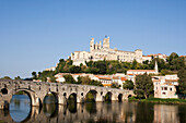 France, Europe, Languedoc_Roussignol, Beziers, river, flow, bridge, cathedral