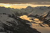 Corvatsch, Upper Engadine, evening light, canton, GR, Graubünden, Grisons, Upper Engadine, mountain, mountains, winters, sundown, sunset, Switzerland, Europe,