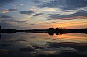 Sweden, Europe, lake, smaland, markaryd, store sjö, island, isle, summer, sundown, sunset,