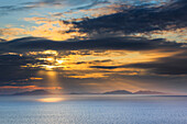 Evening, moody, view, view, Neist Point, mountains, back light, Great Britain, Hebrides, sky, island, isle, island group, Isle of Skye, scenery, landscape, sea, nature, Neist Ponit, rest, silhouette, Scotland, silhouette, Skye, summer, sunrays, sundown, s