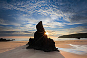 Bay, Durness, cliff, rock, water, Great Britain, Highland, highlands, sky, coast, coastal scenery, scenery, landscape, sea, seashore, morning, moody, nature, North Sea, sand, sand beach, Sango Bay, silhouette, Scottish highlands, Scotland, silhouette, sum