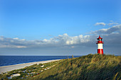 Lighthouse List East with beach and North Sea at sunset, Sylt, North Frisian Islands, Schleswig-Holstein, Germany, Europe.