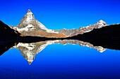 Matterhorn reflecting in mountain lake, Wallis, Schweiz