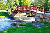Perth is a town in the eastern portion of Southern Ontario, Canada. It is located on the Tay River, 83 kilometres (52 mi) southwest of Ottawa, and is the seat of Lanark County. This is a shot of the park on the tay river showing a bridge.