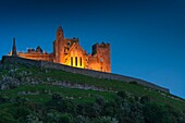 The illuminated Rock of Cashel, Cashel, County Tipperary, Ireland, Europe