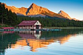 Boathouse at Maligne Lake in the Canadian Rocky Mountains, Jasper National Park, Alberta, Canada