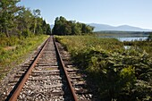 Pondicherry Wildlife Refuge - Railroad tracks next to Cherry Pond in Jefferson, New Hampshire USA  This refuge was designated a National Natural Landmark in 1974 by the National Park Service