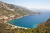 elinda beach and bay, island of chios, north east aegean sea, greece, europe