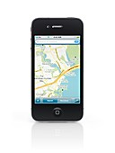 Apple iPhone 4 smartphone with google maps gps app on its display isolated with clipping path on white background  High quality photo