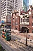 SHEUNG WAN HONG KONG Western Market front green tram Connaught Road West