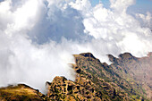 Landscape in the Simien Mountains National Park  Clouds are moving up at the edge of the escarpment forming a dramatic background  The Simien Semien, Saemen, Simen Mountains National Park is part of the UNESCO World heritage and is listed in the red list
