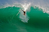 Australias Mick Fanning wipes out on a wave during a warm up session at Hossegor in the south west coast of France