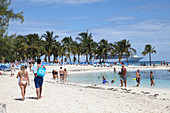 Tourists enjoying on the beaches of Coco Cay, are approximately 55 miles north of Nassau in the Bahamas.