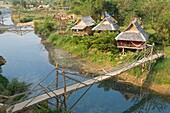 Bungalows by the Nam Song river, Vang Vieng, Laos