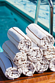 Prepared towels next to Swimming Pool. Cunard Liner Queen Victoria.