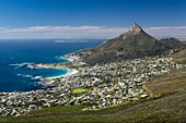 Landscape photo of Camps Bay and Lions Head on a perfect summer day. Camps Bay, Cape Town, South Africa.