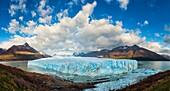 Panoramic landscape photo of the Perito Moreno glacier. Perito moreno Glacier, Patagonia, Argentina.