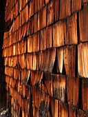 Weathered wooden shingles of a mountain hut, Kallbrunn Alp, Lofer, Salzburger Land, Austria