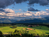 View from Ratzinger Hoehe to Hochgern and Kampenwand, Chiemgau Alps, Bavaria, Germany