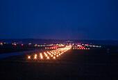 Landing plane at night, Munich Airport, Munich, Bavaria, Germany